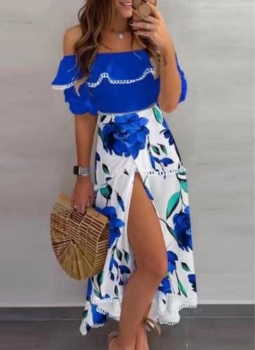 Vestido longo de verão elegante floral com fenda no ombro