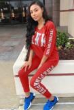 Conjunto de pantalón y top de manga tres cuartos con estampado de letras rojas Autumn Casaul