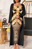 Vestido largo con estampado retro de Autumn Casaul y conjunto exterior largo negro