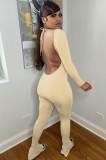 Mono de manga larga sin espalda sexy de otoño