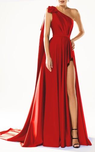 夏のエレガントな赤いワンショルダーノースリーブスリットロングイブニングドレス