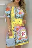 Vestido midi con hombros descubiertos y estampado de verano