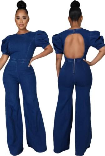 Summer Jeans Blue Backless Puffed Short Sleeve Denim Jumpsuit