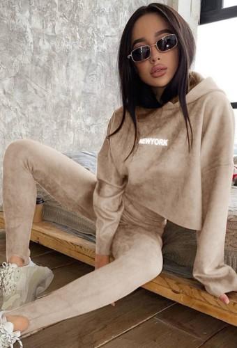 Felpa con cappuccio a maniche lunghe con stampa kahaki autunnale e set di leggings