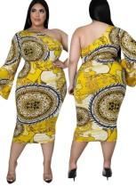 Vestido largo de un hombro con estampado retro amarillo de Casaul de talla grande de otoño