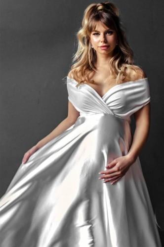 Summer Off Shoulder Pregenant Evening Dress