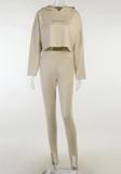 Conjunto de leggings y top con capucha de manga larga con estampado Autumn Kahaki