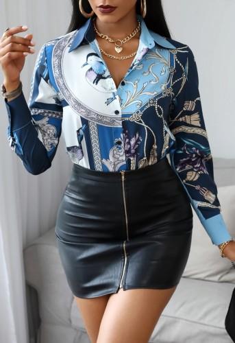 Casaul-herfstoverhemd met retroprint en lange mouwen