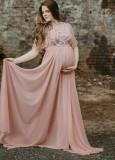 Vestido de noche pregenant de manga corta rosa de verano