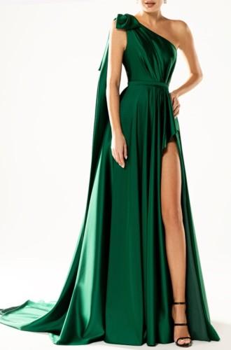 夏のエレガントなグリーンワンショルダーノースリーブスリットロングイブニングドレス