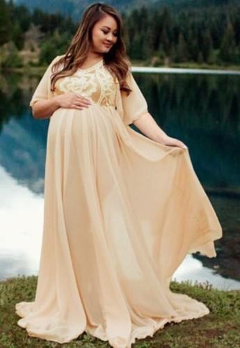 Summer Yellow Short Sleeve Pregenant Evening Dress