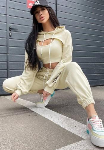 Autunno Sexy Giallo Felpe con cappuccio manica lunga Top & Vest e Pant 3 piese Set