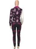 Conjunto de pantalón y camisa de manga larga con estampado retro rosa otoñal