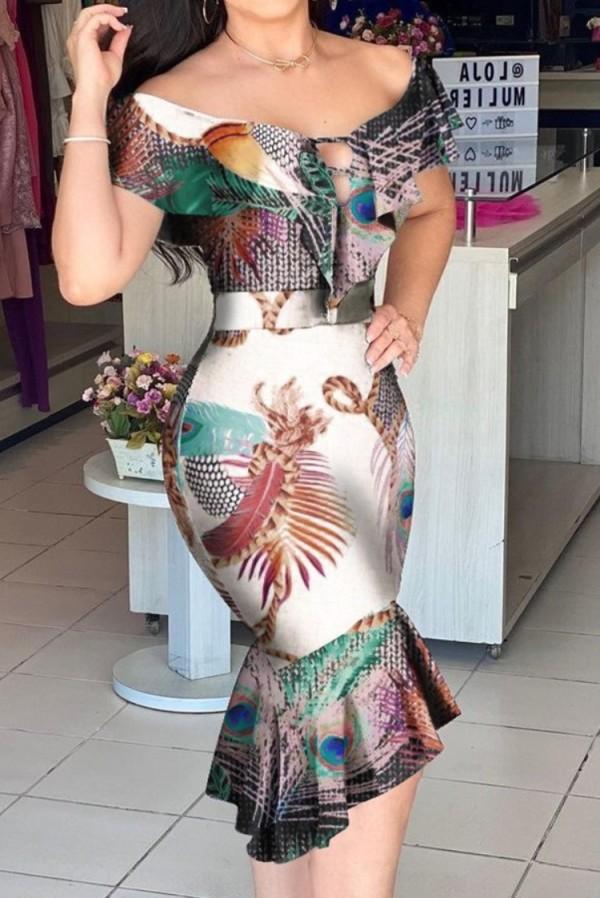 Vestido de sirena de manga corta con estampado sexy de verano con hombros descubiertos y volantes