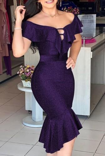 Summer Sexy Purple Off Shoulder Ruffles Short Sleeve Mermaid Dress