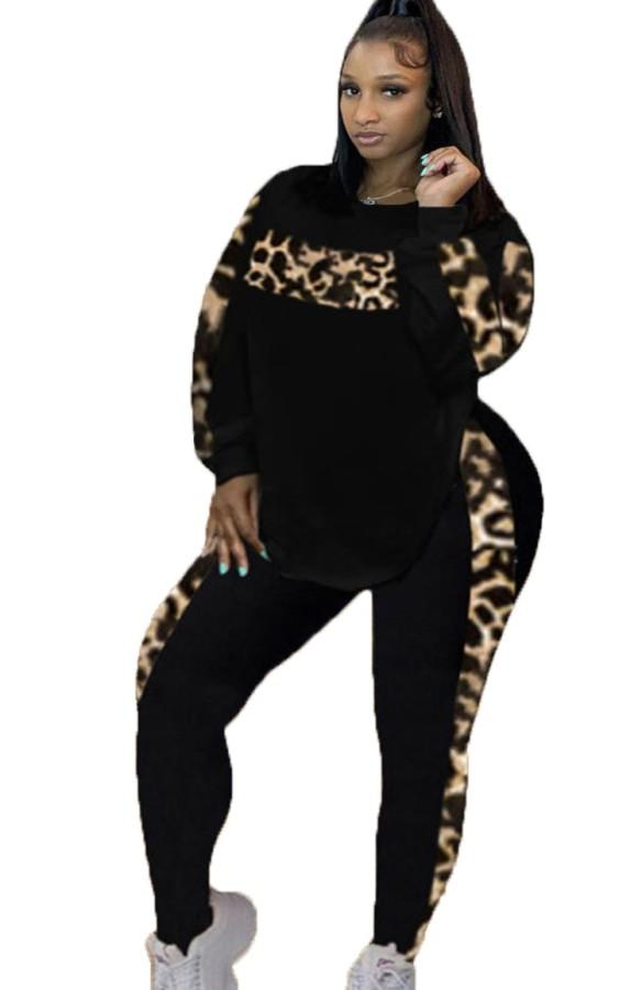 Conjunto de pantalón y top de manga larga con estampado de leopardo en negro con cinta de talla grande de otoño