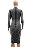 Otoño sexy negro ahueca hacia fuera el vestido ajustado de manga larga Reinestone