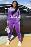 Otoño Casaul Purple Turn down Collar Zipper Top de manga larga y pantalón de chándal