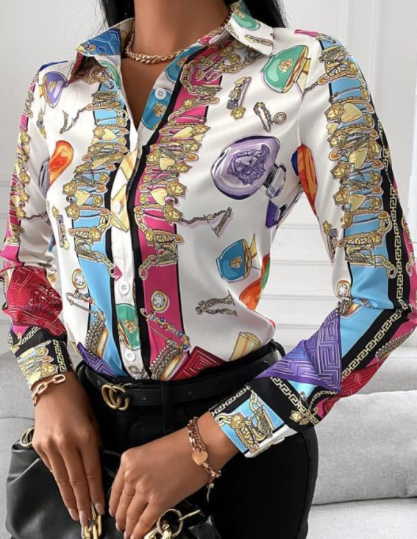 Camisa de manga larga con estampado retro de Autumn Casaul