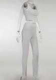 Conjunto de pantalón corto sin mangas con cinta blanca sexy de verano y pantalón con abertura