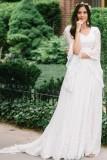 Vestido de noche pregenado de manga larga de encaje blanco de otoño