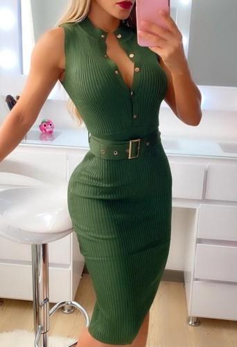 Summer Green Botton Up Sleeveless with Blet Midi Dress