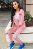 Conjunto de pantalón y top de manga tres cuartos con estampado de letras rosa de Autumn Casaul