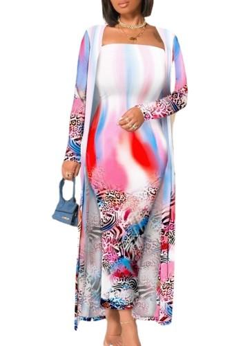 Herfst Casaul print lange jurk en lange buitenste bijpassende set