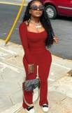 Conjunto de pantalón y top de manga larga con cuello en U rojo sexy de otoño