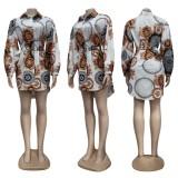 Vestido camisero de manga larga con estampado retro de Autumn Casaul