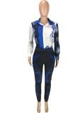 Conjunto de pantalón y camisa de manga larga con estampado retro azul otoño