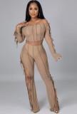 Otoño Sexy Kahaki ahueca hacia fuera el vendaje del hombro de manga larga Crop Top y conjunto de pantalón