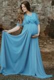 Vestido de noche pregenado de manga corta azul de verano