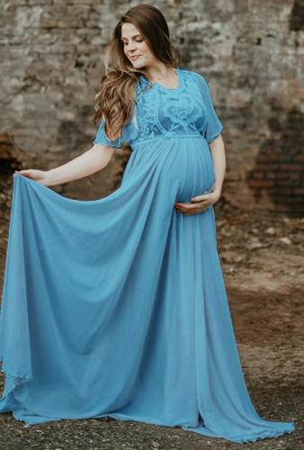 Summer Blue Short Sleeve Pregenant Evening Dress