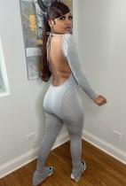Herfst sexy grijze backless jumpsuit met lange mouwen