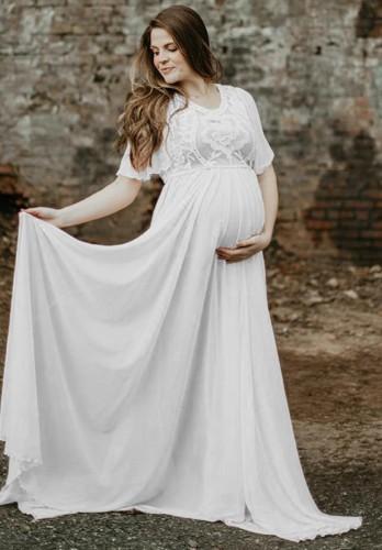 Summer White Short Sleeve Pregenant Evening Dress