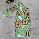 Vestido largo de un hombro con estampado retro verde de Casaul de talla grande de otoño