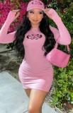 Vestido ajustado de manga larga con estampado de otoño rosa con orificio para el pulgar