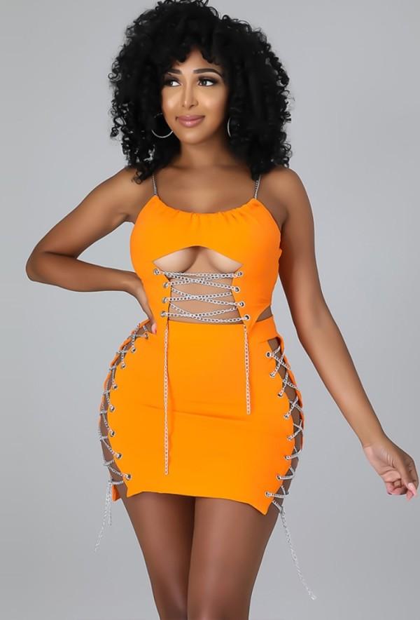 Conjunto de vestido y top corto sin mangas con diseño de cadena naranja sexy de verano
