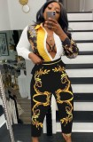 Conjunto de camisa y pantalón de manga larga con estampado retro amarillo otoñal