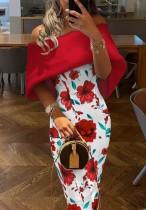 Verano elegante estampado de flores fuera del hombro vestido largo flaco