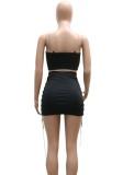 Conjunto de vestido y top corto sin mangas con diseño de cadena negra sexy de verano