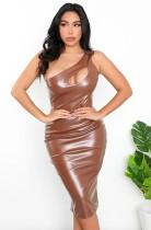 Sommer Sexy Braunes ärmelloses, figurbetontes Kleid mit einer Schulter