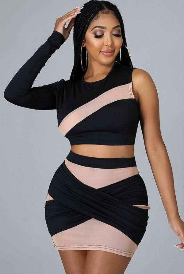 Vestido ajustado de un hombro con cinta de contraste negro sexy de otoño