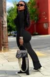 Conjunto de pantalón y top de manga larga con cuello en U negro sexy de otoño