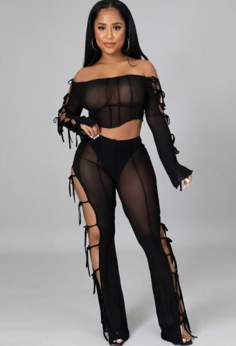 Autunno Sexy Black Hollow Out Bandage Off spalla manica lunga Crop Top e Pantalone