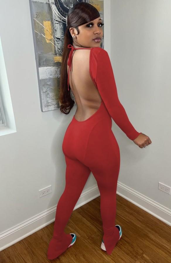 Mono de manga larga sin espalda rojo sexy de otoño