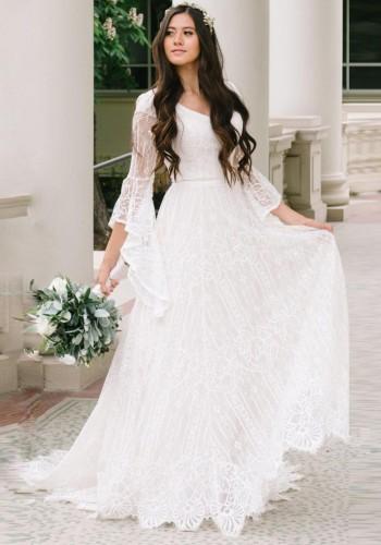 Autumn White Lace Long Sleeve Pregenant Evening Dress