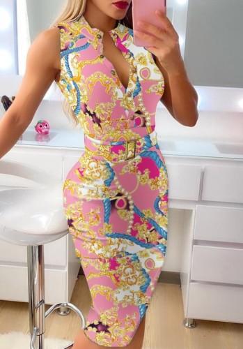 Summer Print Botton Up Sleeveless with Blet Midi Dress