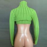 Otoño Casual Verde Ahuecado Cuello alto Manga larga Crop Top